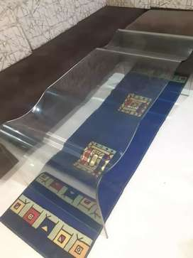 Glass sofa decor table