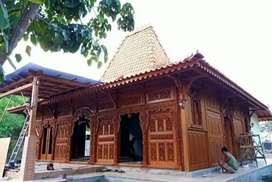 Bangunan Rumah Joglo Gebyok Ukiran Bahan Kayu Jati Soko utama 20cm