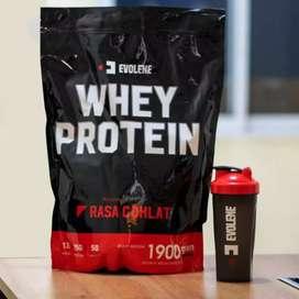 Evolene Whey Protein Free Shaker isi 1,9kg/50 sachet BPOM HALAL