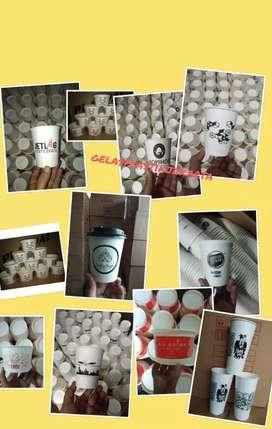 Serba Murah Gelas ThaiTea/Kopi Sablon/Printing (GELAS CUP KERTAS) 16oz