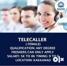 we hiring TELECALLER ( FEMALE)