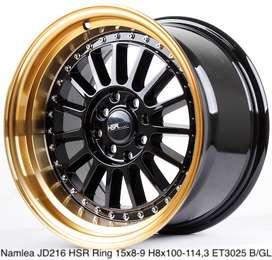 toko velg termurah NAMLEA JD216 HSR R15X8/9 H8X100-114,3 ET30/25 BK/GO