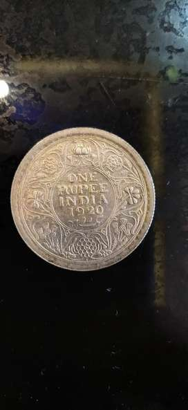 1920 one rupee silver coin
