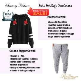 AM00627 Celana Setelan Satu set Sweater cewek dan celana joger