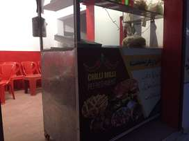 Burger stall with items