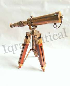 Antique Brass 10 inches Telescope with wooden Tripod stand