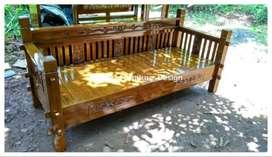 bale bale jati / daybed kayu ukir minimalis jepara kf-4660