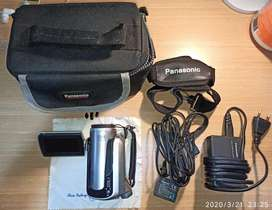 Panasonic SDR-H21GC-S compact handheld camcorder used with travel bag