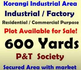 600 Yards Plot Available in P&T Society Korangi industrial area