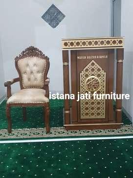 Mimbar masjid khutbah podium kayu jati tua