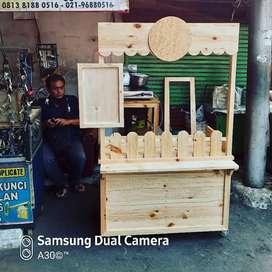 Jual booth murah / booth kayu jati belanda / gerobak kayu