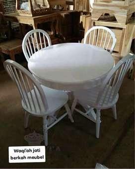 Meja makan bundar Retro modern & mewah, k. 4, bahan kayu jati terbaik
