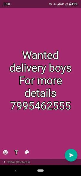 Wanted delivery boys in Shamshabad
