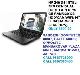 HP 240 G1 INTEL 3RD GEN DUAL CORE LAPTOP/4 GB RAM/320 GB HDD/CAM/WIFI
