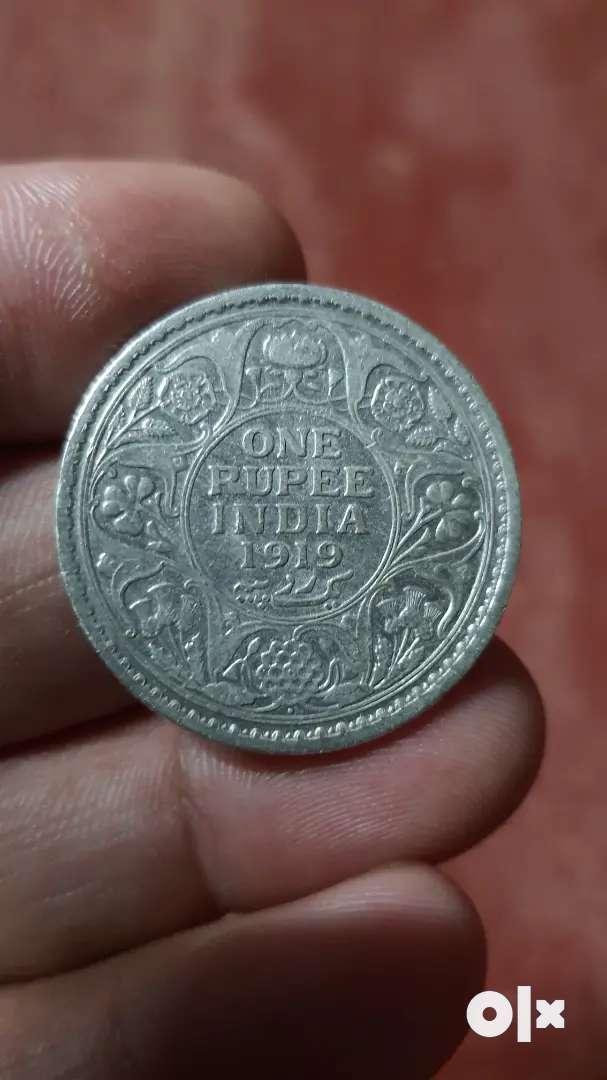 Rare old 1 rupee silver coin-1919 0