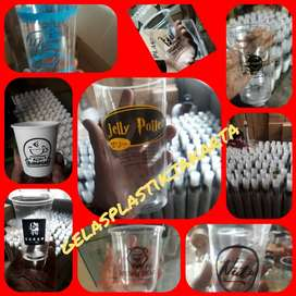 GROSIR SABLON/CETAK gelas plastik boba LOGO GELAS CUP PLASTIK 8ozoz