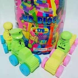 Mainan blok besar isi 176