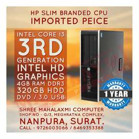 Core i3 _ 3rd Generation / Hp Slim Branded CPu // 1 Year Warranty