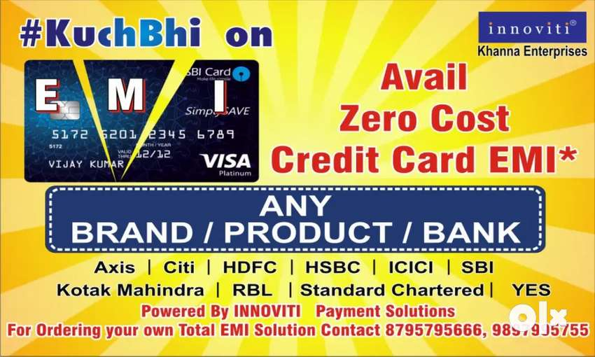 Offer Zero Credit card EMI on Any Product / Brand / Bank 0