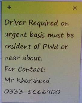 Driver Required for Islamabad