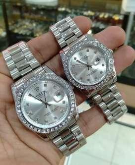 jam tangan couple rolex putih ada tanggal aktif