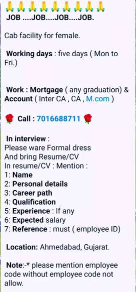 Job opening for Account , Mortgage, Operators, Back office.