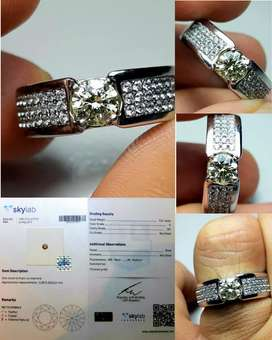 Batu Berlian Natural Diamond 0.61ct SI1 NTE Color O sertificat skylab