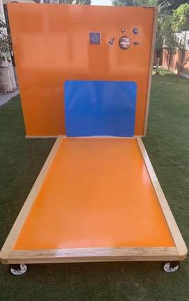 Orange and blue: Kids bedroom set of twin beds, stools and wall panel