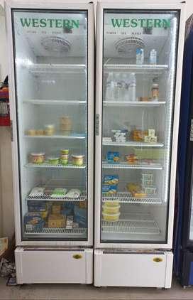 verticle refrigerator with visible door and deep freezer