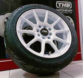 "Velg mobil agya,yaris,jazz Ring 15"" plus ban semi slick accelera sport"