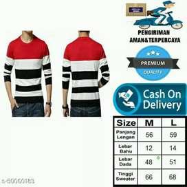 Jaket Sweater Rajut Pria Merah-Putih