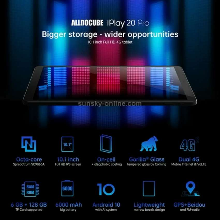 """Alldocube iPlay 20 Pro 4G LTE 6/128GB Octacore Tablet 10.1""""Android 10 0"""