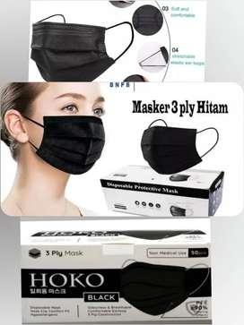 Masker HITAM HOKO 3ply isi 50 Pcs Earloop Mediacal Grade