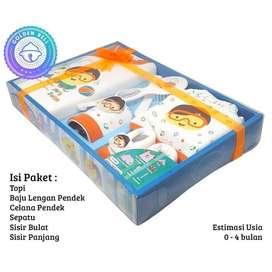 Paket Baby Gift Set Baju Celana Sisir Kado Hadiah Lahir Orange Jingga