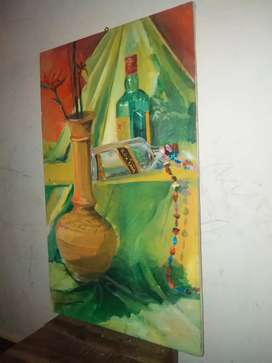 Oil painting of glass bottles with tera coat pot.
