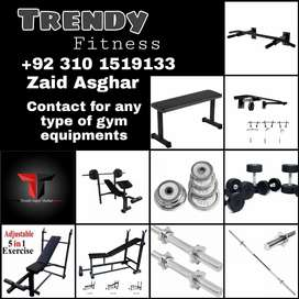 Gym Equipment Benches, Chinup Bars, Weights Plates, Dumbbells.