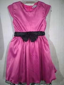 Dress/gaun anak warna pink fanta size 120