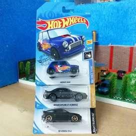 Hot wheels hotwheels paket 3 hot item mini cooper, skyline, honda cr-x