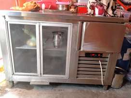 D freezer attached with display counter steel