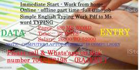 Work from home job  Data Entry Fresher can also apply.
