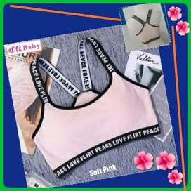 New Bra Sport Wanita Sexy Soft Pink Import