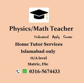 Physics & Maths – Home Tutor, Teacher – O level, A level & Matric, FSc