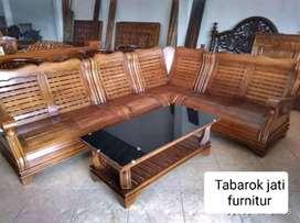 Sofa tamu sudut minimalis moderen, bahan kayu jati tua asli terbaik