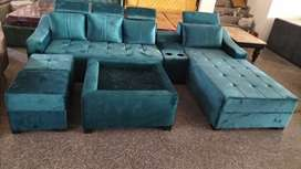 Sofa set with center table and 2 puffy