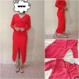 Dress Sabrina merah