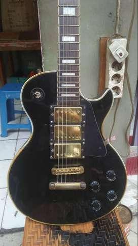 Gitar antik crown jepang lespaul black gold vintage