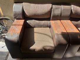 5 seater brown leather and jute sofa for sale