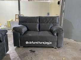sofa Dobel sandaran, model minimalis, bebas pilih kain