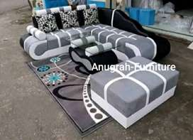 ANUGRAH-FURNITURE,Sofa L new BELAGIO hitam-abu minimalis+bantal.