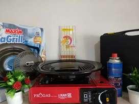 I paket kompor piknik,Grill pan,Gas Hi-Cook dan sumpit